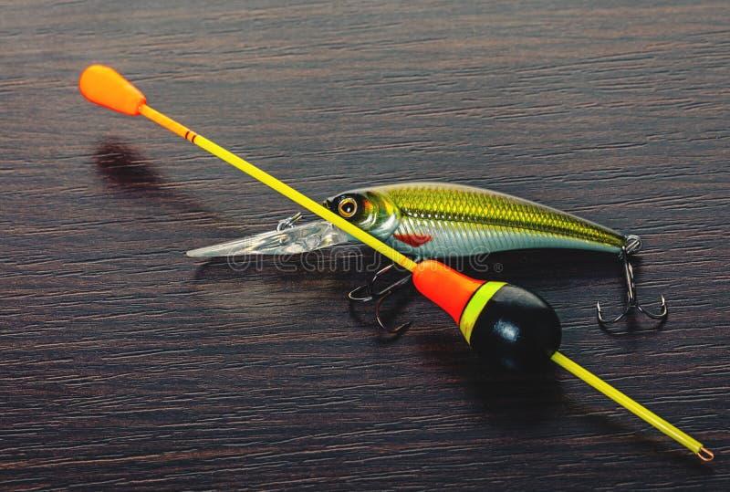 Accrochez et flottez pour un plan rapproché de canne à pêche photos libres de droits