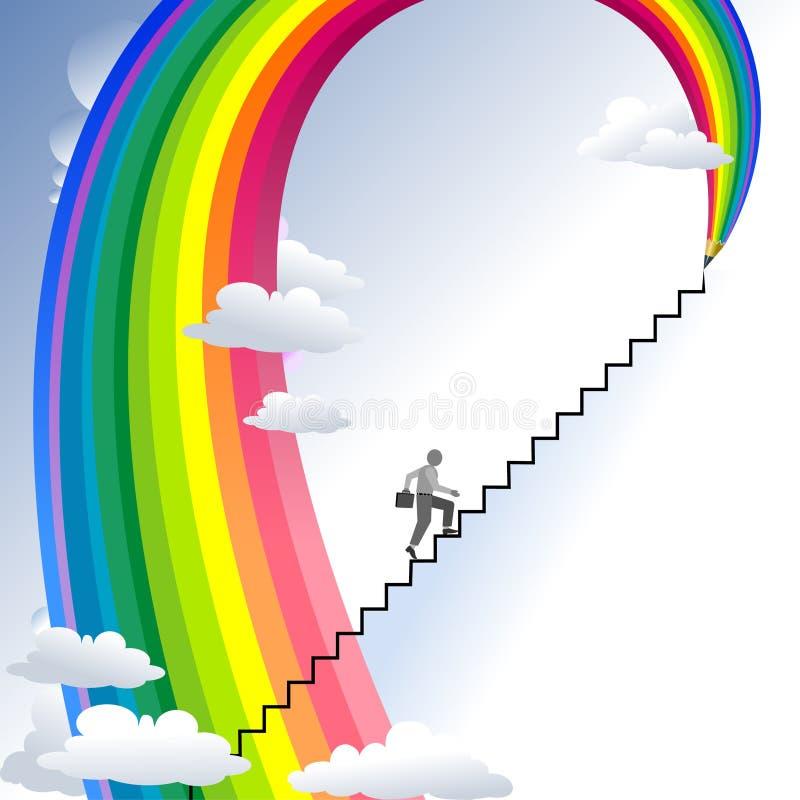 Accroissement - série abstraite de crayon d'arc-en-ciel illustration libre de droits