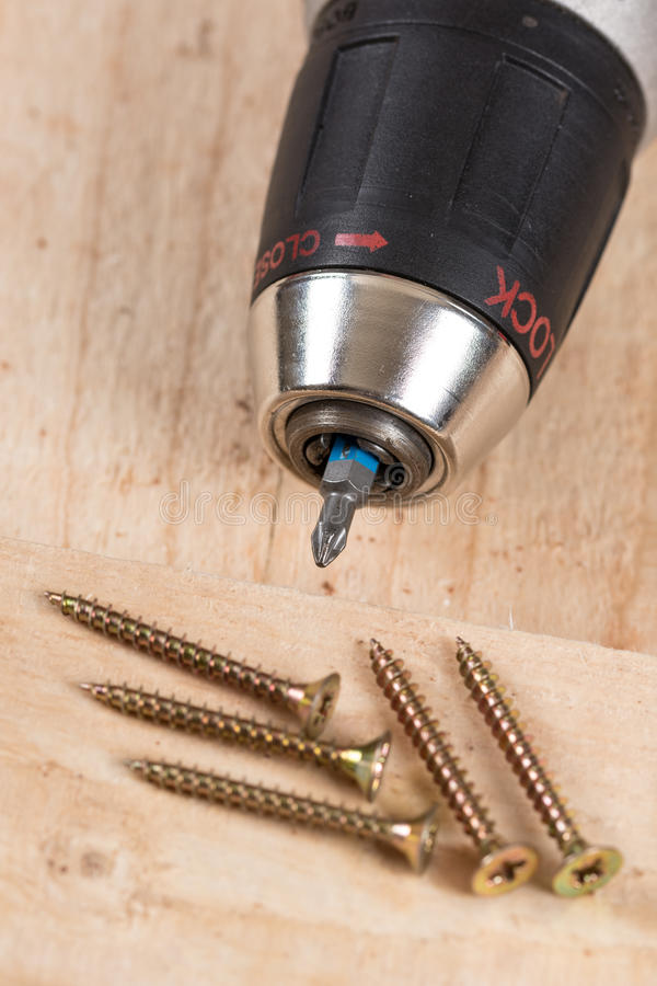 Accu drill with pile of metal screws.  royalty free stock photography