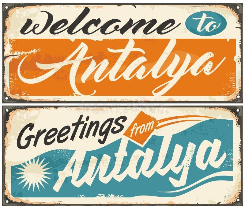 Accueil à de rétros signes de souvenir d'Antalya réglés illustration de vecteur