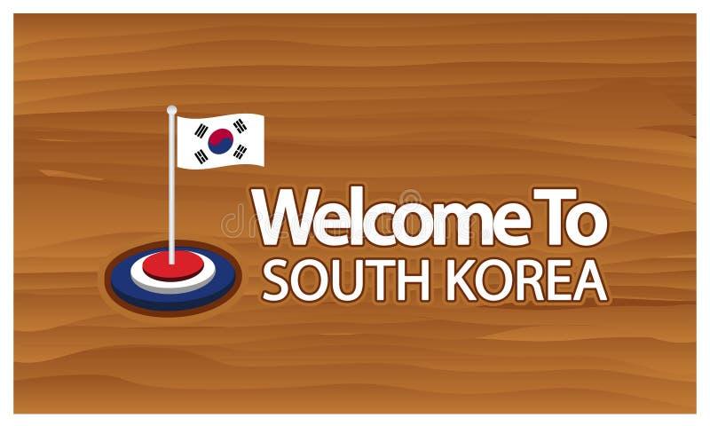 Accueil à l'affiche de la Corée du Sud avec le drapeau de la Corée du Sud, heure de voyager la Corée du Sud Illustration de vecte illustration libre de droits