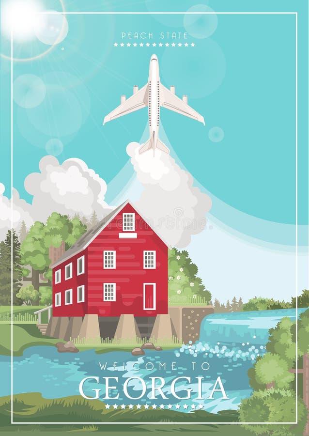 Accueil à l'affiche de la Géorgie Etats-Unis Affiche de vecteur d'état de pêche Fond de voyage dans le style plat illustration libre de droits