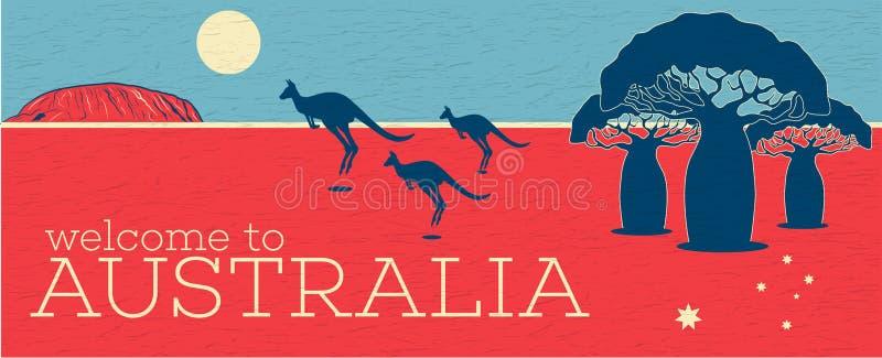 Accueil à l'affiche de vintage d'Australie illustration libre de droits