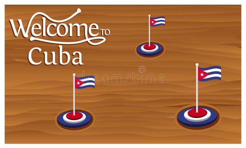 Accueil à l'affiche du Cuba avec le drapeau du Cuba, heure de voyager le Cuba Illustration de vecteur d'isolement illustration de vecteur