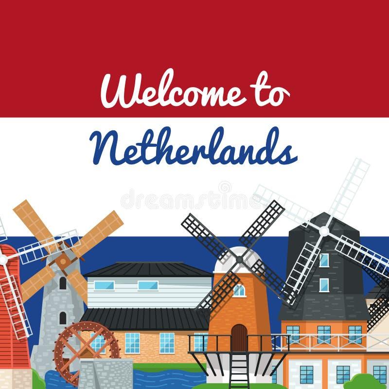 Accueil à l'affiche néerlandaise avec des moulins à vent illustration stock