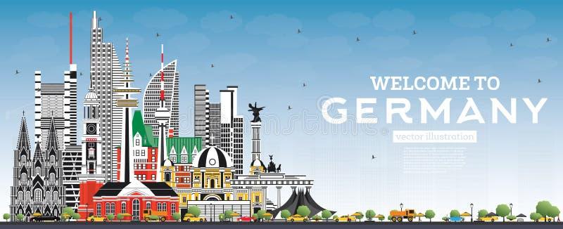 Accueil à l'horizon de l'Allemagne avec Gray Buildings et le ciel bleu illustration stock