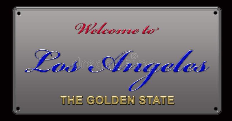 Accueil à l'illustration de plaque minéralogique de Los Angeles illustration libre de droits