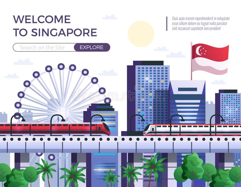 Accueil à l'illustration de vecteur de Singapour illustration de vecteur