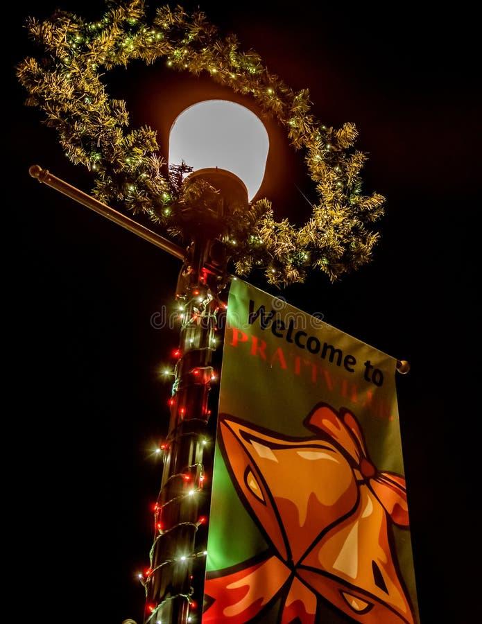 Accueil à la bannière de Noël de Prattville images libres de droits