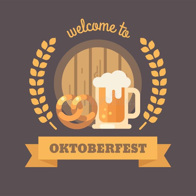 Accueil à la bannière plate d'illustration d'Oktoberfest illustration stock