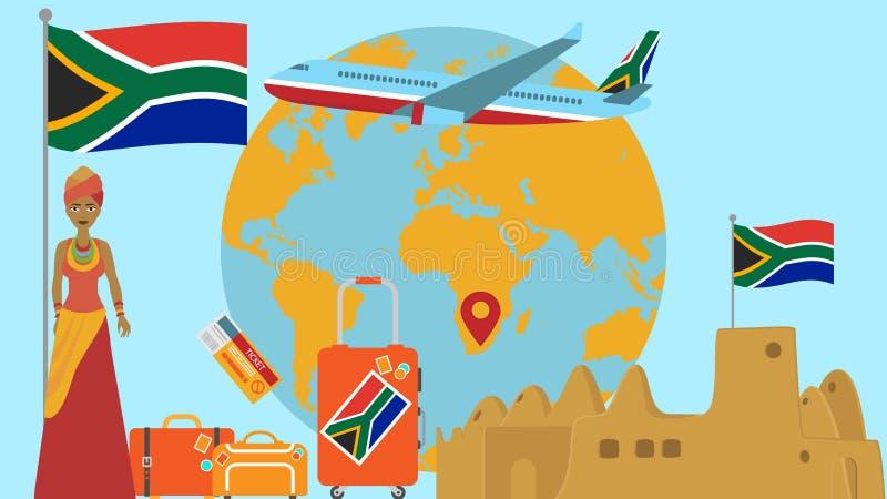 Accueil à la carte postale de l'Afrique du Sud Concept de voyage et de safari d'illustration de vecteur de carte du monde de l'Af illustration libre de droits