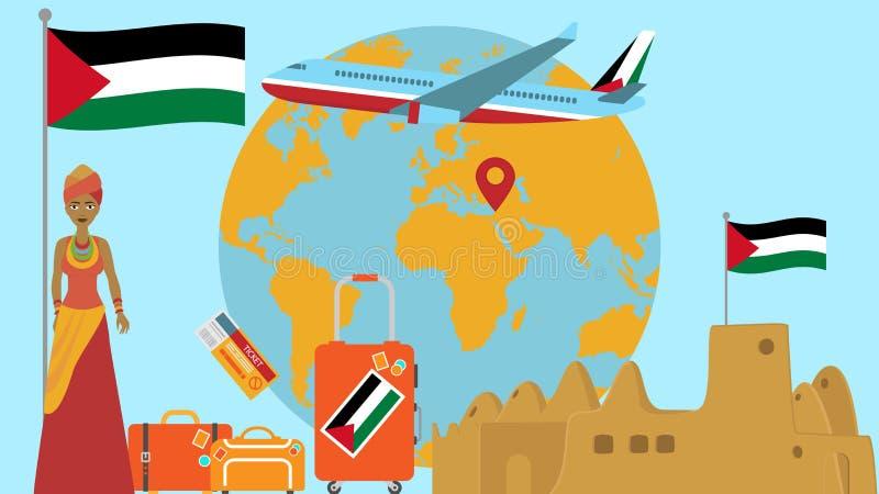 Accueil à la carte postale de la Palestine Concept de voyage et de safari d'illustration de vecteur de carte du monde de l'Afriqu illustration libre de droits