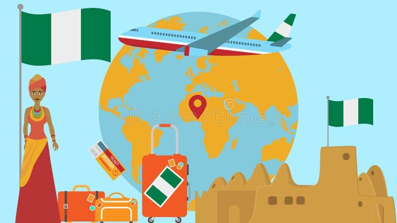 Accueil à la carte postale du Nigéria Concept de voyage et de safari d'illustration de vecteur de carte du monde de l'Afrique ave illustration stock