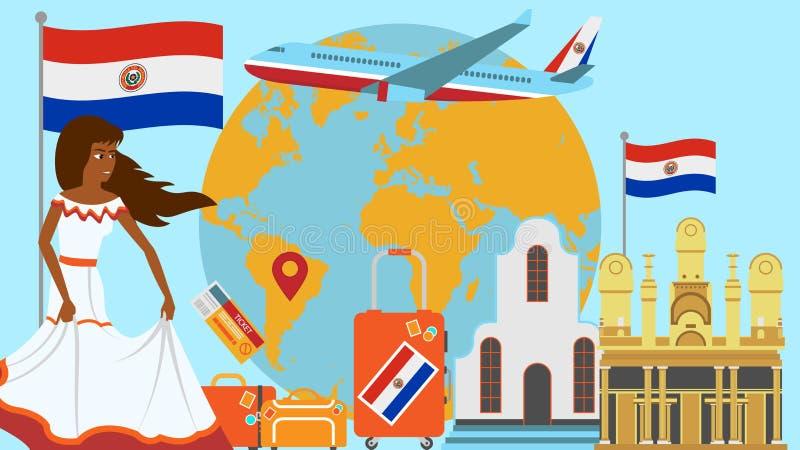 Accueil à la carte postale du Paraguay Concept de voyage et de voyage d'illustration de vecteur de pays de Latino avec le drapeau illustration de vecteur