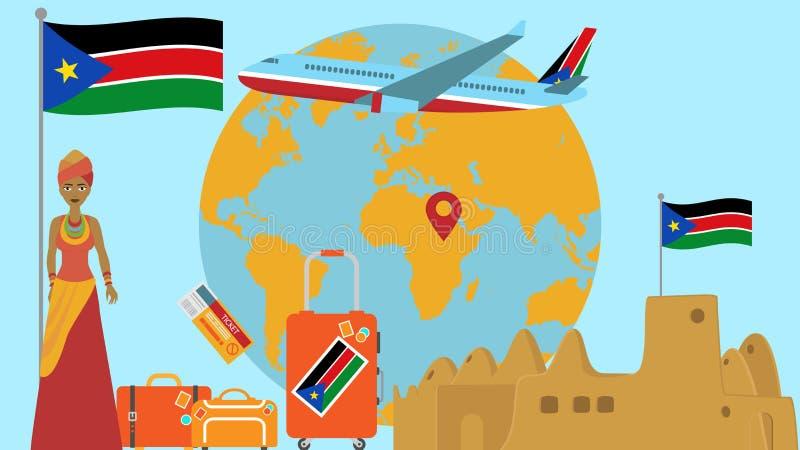 Accueil à la carte postale du sud du Soudan Concept de voyage et de safari d'illustration de vecteur de carte du monde de l'Afriq illustration stock