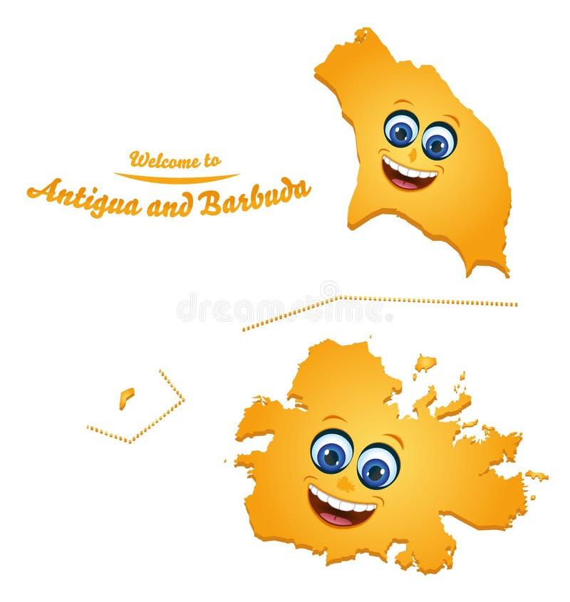 Accueil à la carte souriante de l'Antigua-et-Barbuda illustration libre de droits