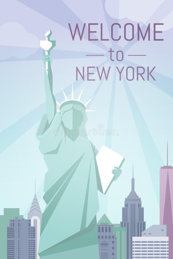 Accueil à la conception plate d'affiche de New York photos stock