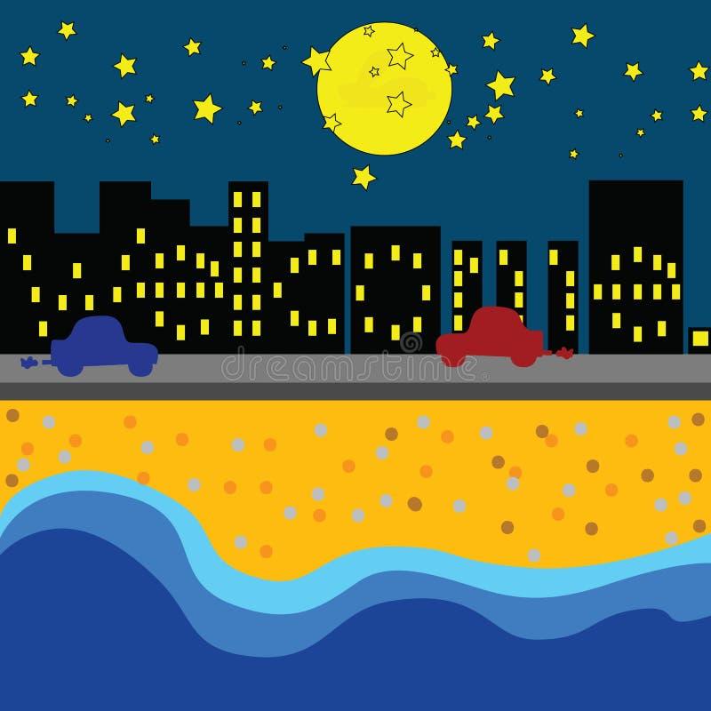 Accueil à la nuit de la mer images libres de droits