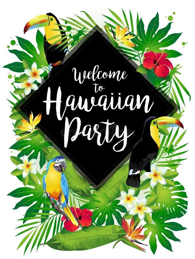 Accueil à la partie hawaïenne ! Oiseaux tropicaux, fleurs, feuilles illustration stock