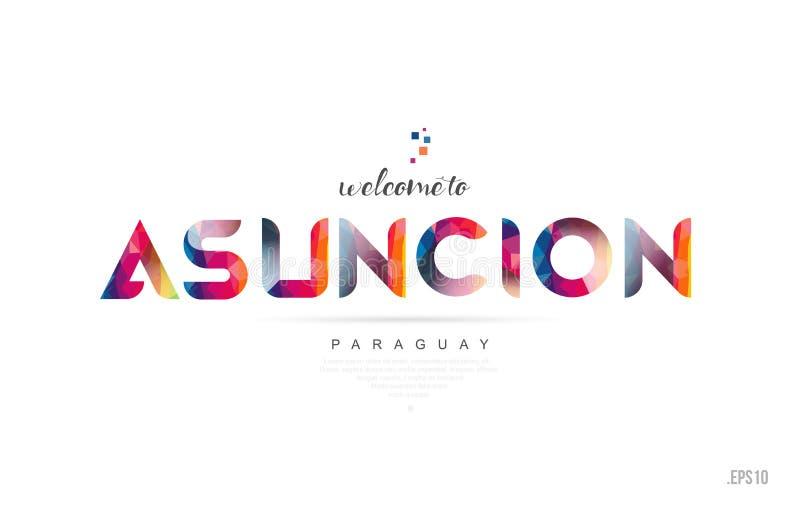 Accueil à la typographie i de conception de carte et de lettre d'asuncion Paraguay illustration libre de droits