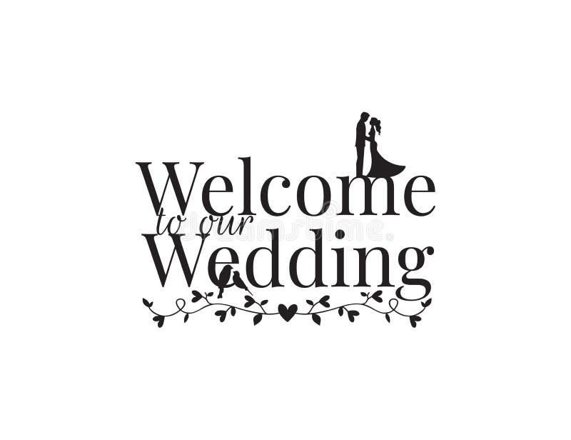 Accueil à notre mariage, silhouettes de baiser de vecteur de design de carte d'invitation, de marié et de jeune mariée, décor d'a illustration libre de droits