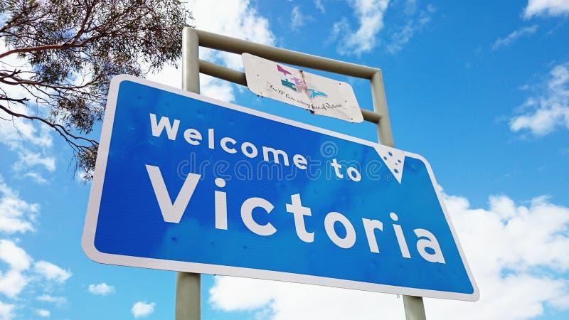Accueil à Victoria State Boarder Sign photos stock