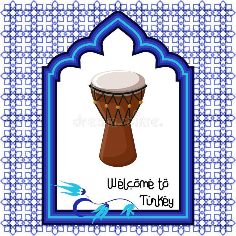 Accueil au calibre de carte de voeux de la Turquie avec le tambour turc, la fenêtre orientale d'ornement et le texte illustration de vecteur