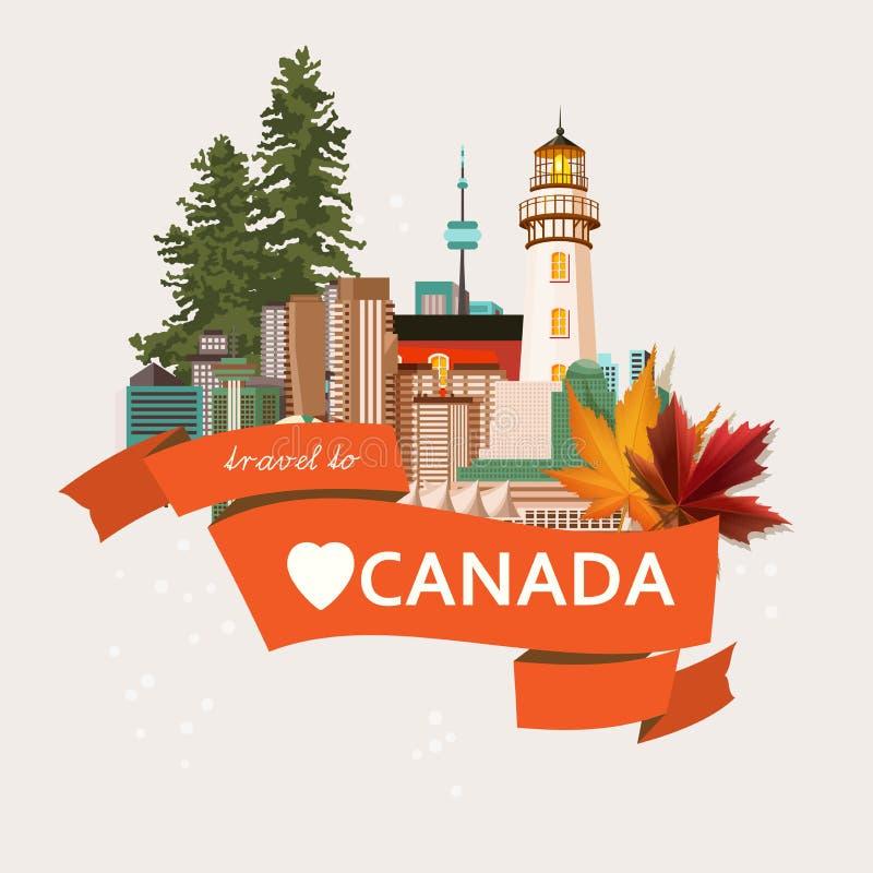 Accueil au Canada Conception légère Carte postale colorée Illustration canadienne de vecteur Rétro type Carte postale de voyage illustration de vecteur