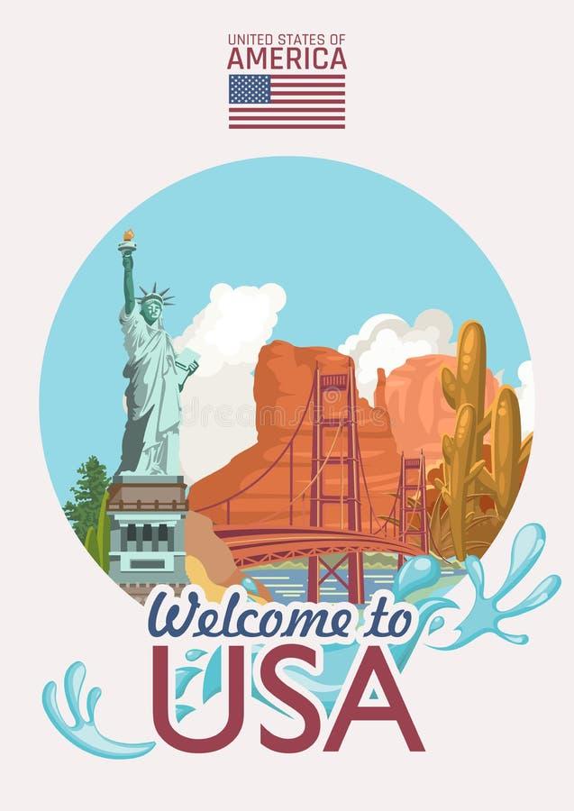 Accueil au label des Etats-Unis Affiche des Etats-Unis d'Amérique avec des sightseeings américains dans le rétro style Illustrati illustration libre de droits