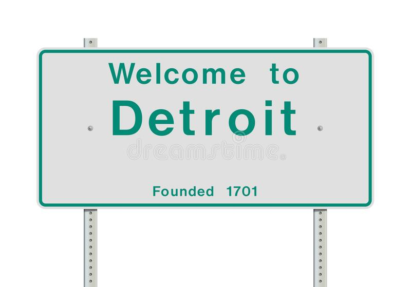 Accueil au panneau routier d'entrée de Detroit illustration stock