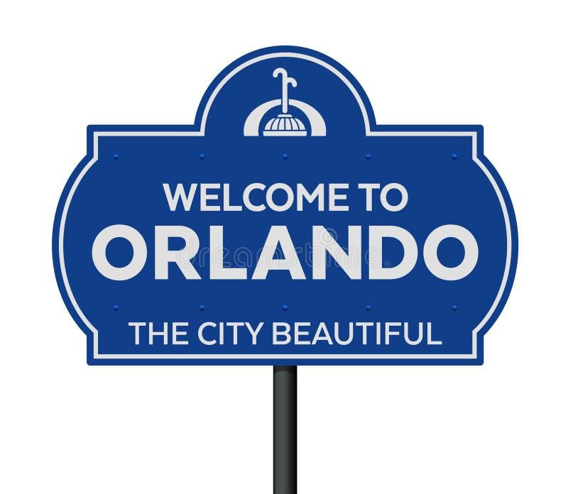 Accueil au panneau routier d'Orlando illustration de vecteur