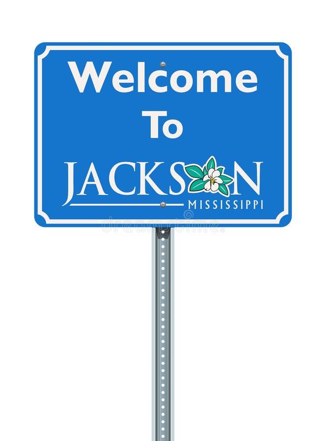 Accueil au panneau routier de Jackson Mississippi illustration libre de droits