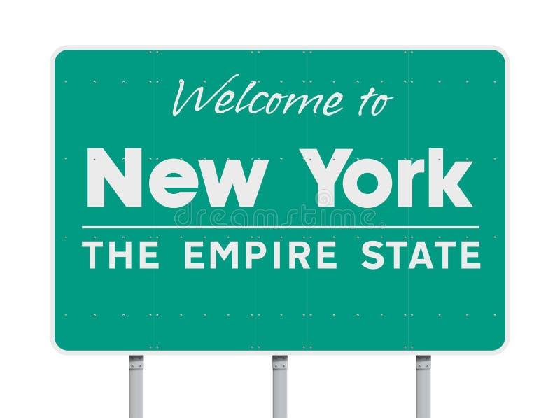 Accueil au panneau routier de New York illustration libre de droits