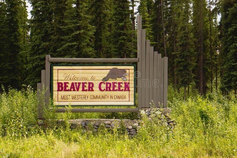 Accueil au signe de Beaver Creek photographie stock libre de droits