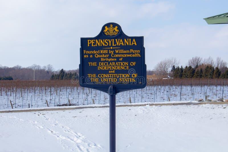 Accueil au signe de la Pennsylvanie, centre d'accueil de la Pennsylvanie photographie stock libre de droits