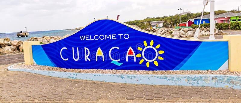Accueil au signe du Curaçao photographie stock