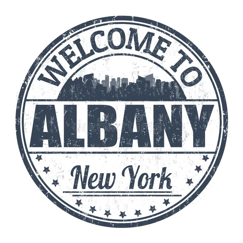 Accueil au signe ou au timbre d'Albany illustration stock