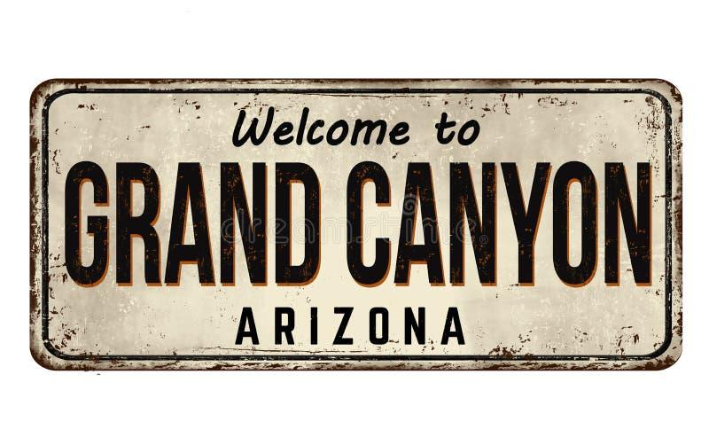 Accueil au signe rouillé en métal de cru de Grand Canyon illustration stock