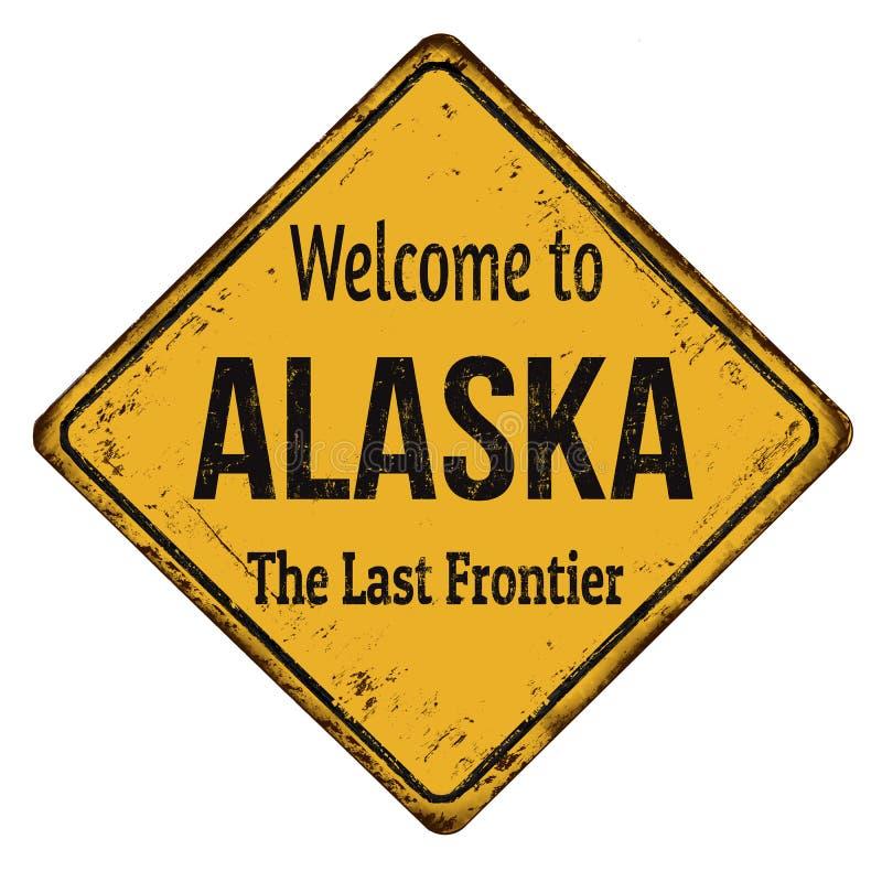Accueil au signe rouillé en métal de vintage de l'Alaska illustration libre de droits