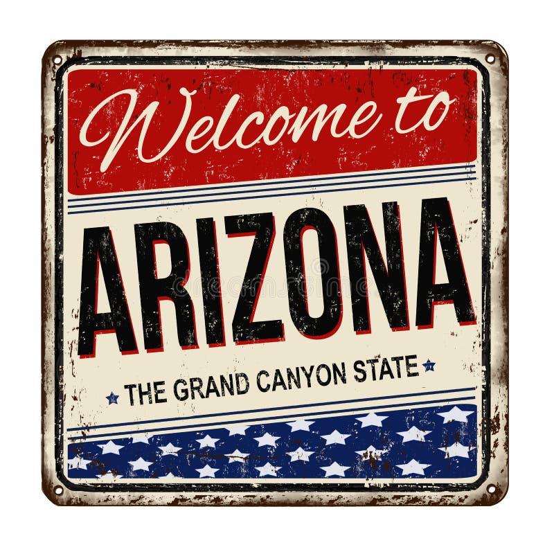Accueil au signe rouillé en métal de vintage de l'Arizona illustration de vecteur