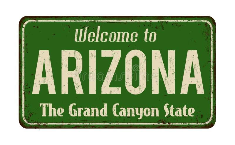 Accueil au signe rouillé en métal de vintage de l'Arizona illustration stock