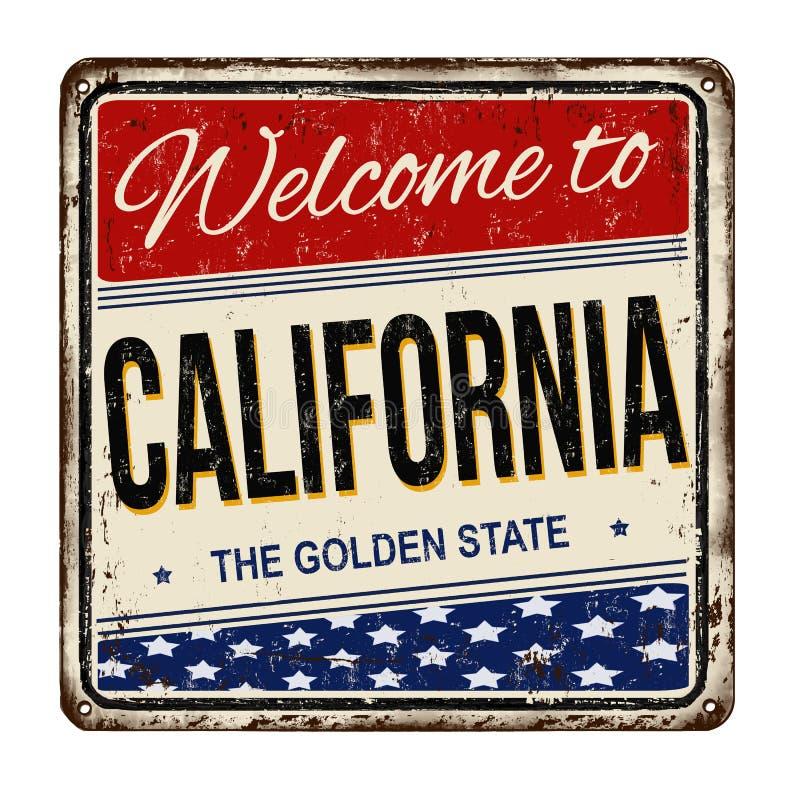 Accueil au signe rouillé en métal de vintage de la Californie illustration stock