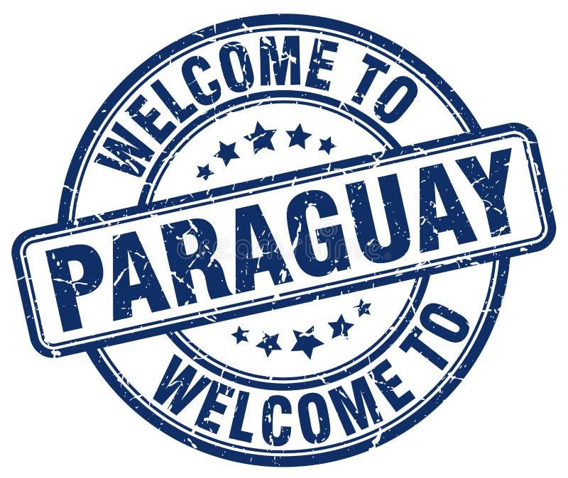 accueil au timbre rond bleu du Paraguay illustration de vecteur