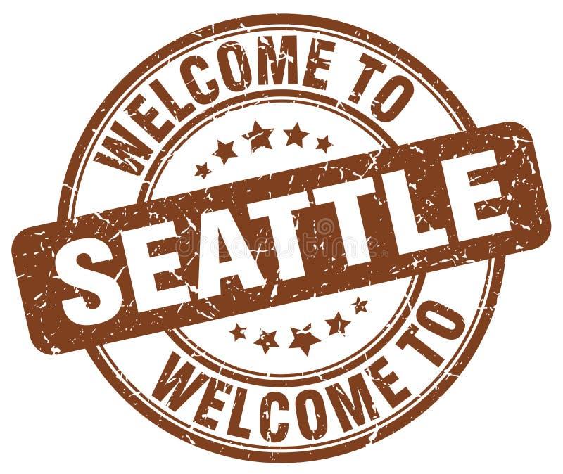 Accueil au timbre rond brun de Seattle illustration libre de droits