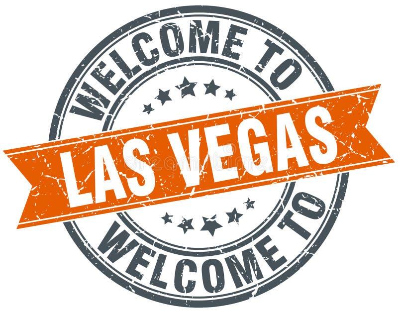 Accueil au timbre rond orange de Las Vegas illustration de vecteur