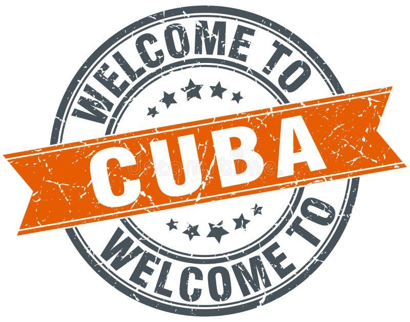 Accueil au timbre rond orange du Cuba illustration de vecteur