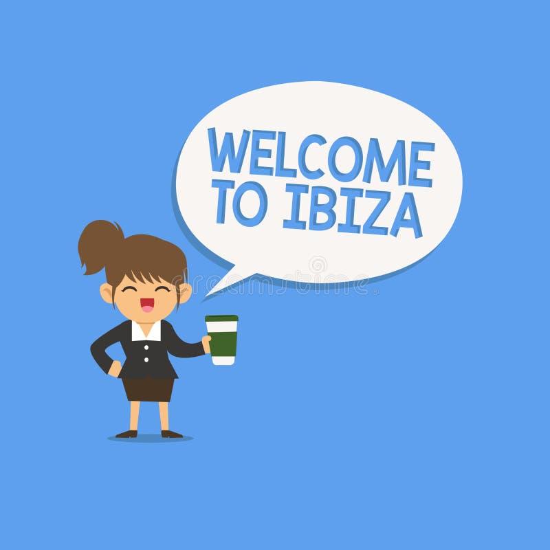 Accueil d'écriture des textes d'écriture à Ibiza Concept signifiant des salutations chaudes d'une d'Îles Baléares de l'Espagne illustration de vecteur