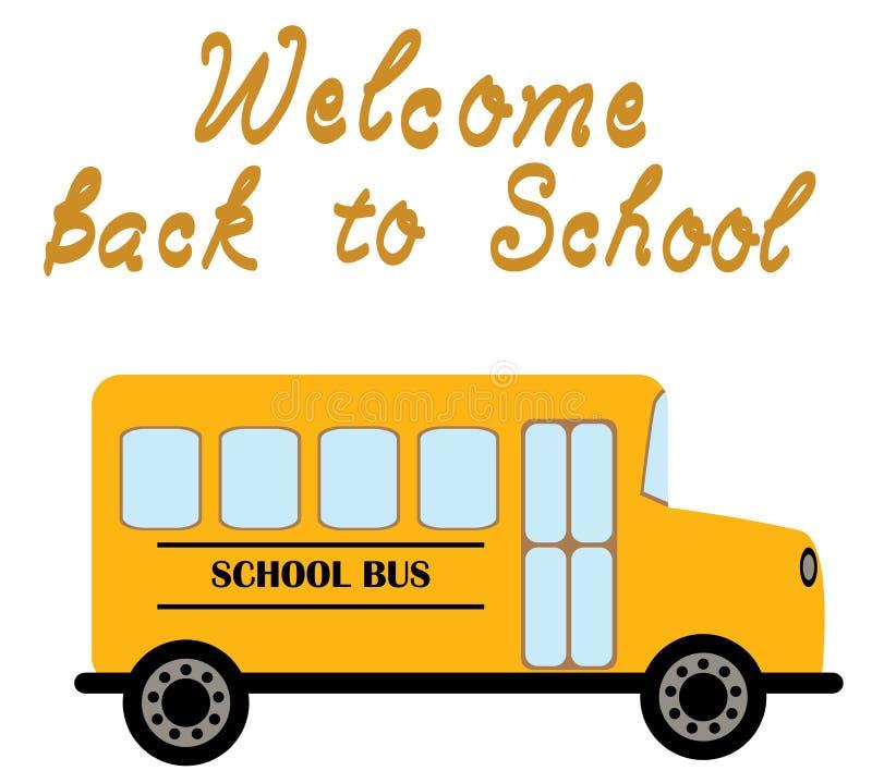 Accueil d'autobus scolaire de vecteur de nouveau à l'école illustration libre de droits