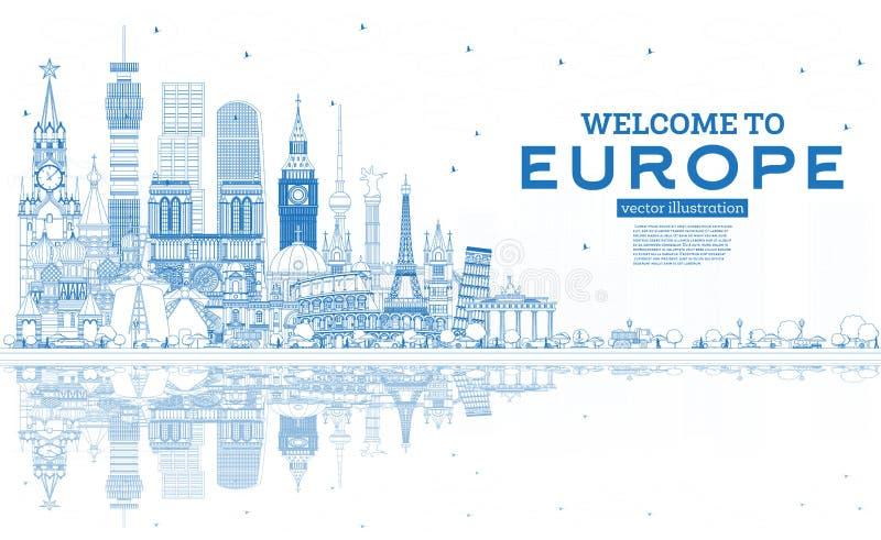 Accueil d'ensemble ? l'horizon de l'Europe avec les b?timents bleus illustration libre de droits