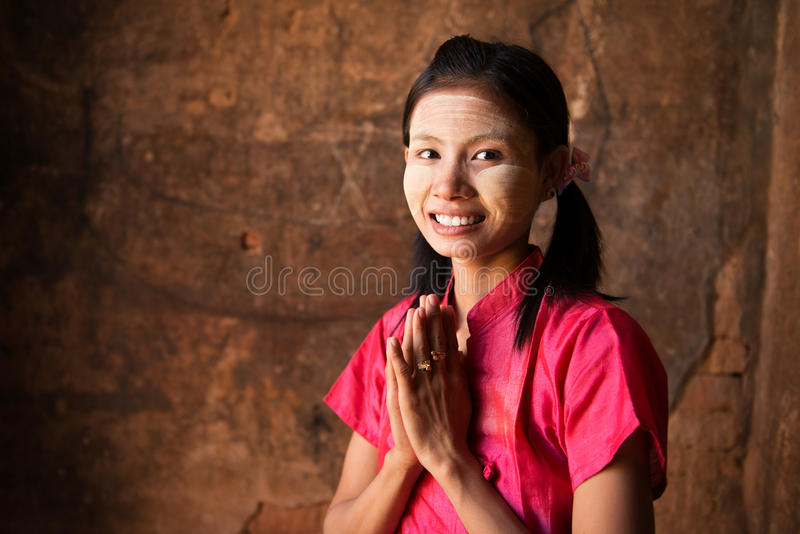 Accueil de fille de Myanmar photos stock